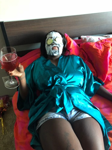 Relaxing with a drink in my hand, mask on my face and wearing a silk robe can really elevate things!